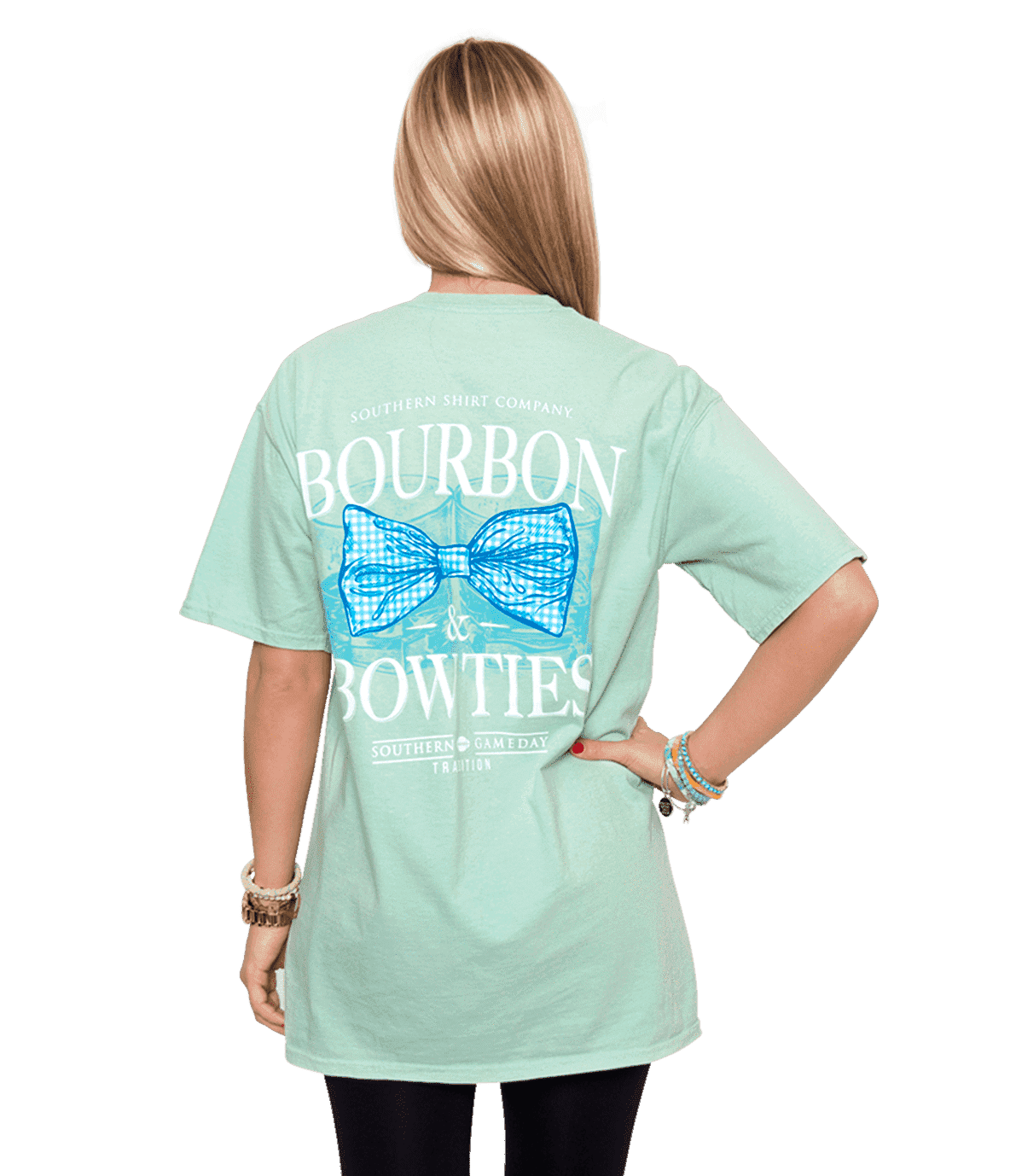 Women's Tee Shirts - Bourbon & Bow Ties Tee In Herbal  Mist By The Southern Shirt Co.