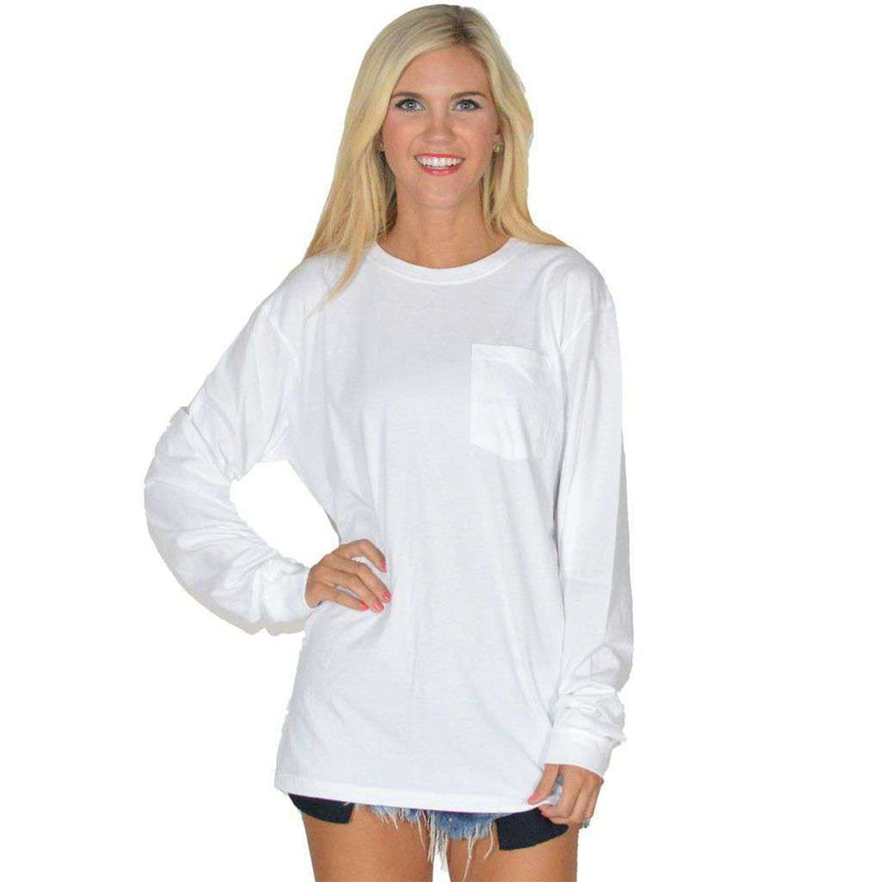 Women's Tee Shirts - Bourbon & Magnolias Long Sleeve Tee In White By Lauren James - FINAL SALE
