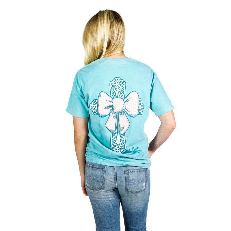 Women's Tee Shirts - Bow Cross Pocket Tee In Chalky Mint By Lily Grace