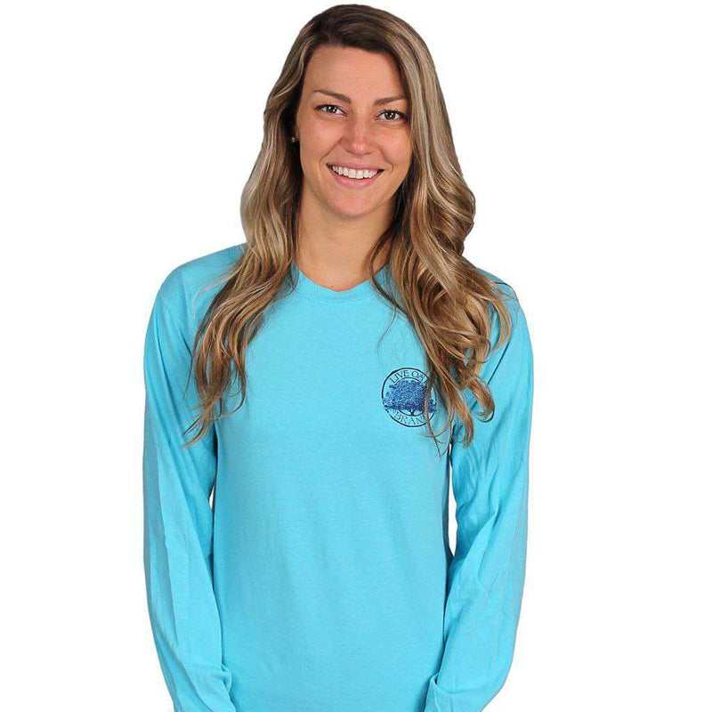 Women's Tee Shirts - Bow Tie Emblem Long Sleeve Tee In Lagoon Blue By Live Oak