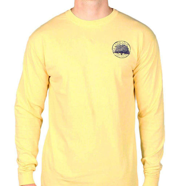 Women's Tee Shirts - Bow Tie Emblem Long Sleeve Tee In Yellow By Live Oak