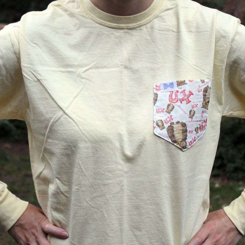 Women's Tee Shirts - Chi Omega Long Sleeve Tee Shirt In Banana With Pattern Pocket By The Frat Collection