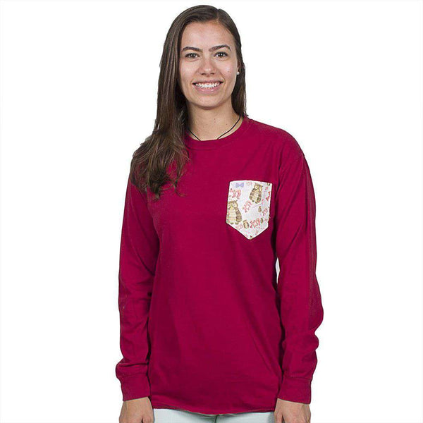 Women's Tee Shirts - Chi Omega Long Sleeve Tee Shirt In Barn Red With Pattern Pocket By The Frat Collection
