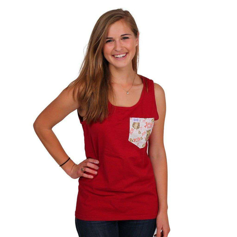 Women's Tee Shirts - Chi Omega Tank Top In Barn Red With Pattern Pocket By The Frat Collection - FINAL SALE