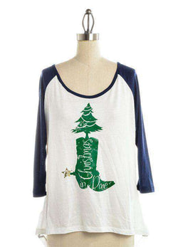 Women's Tee Shirts - Christmas In Dixie Baseball Tee In White By Judith March - FINAL SALE