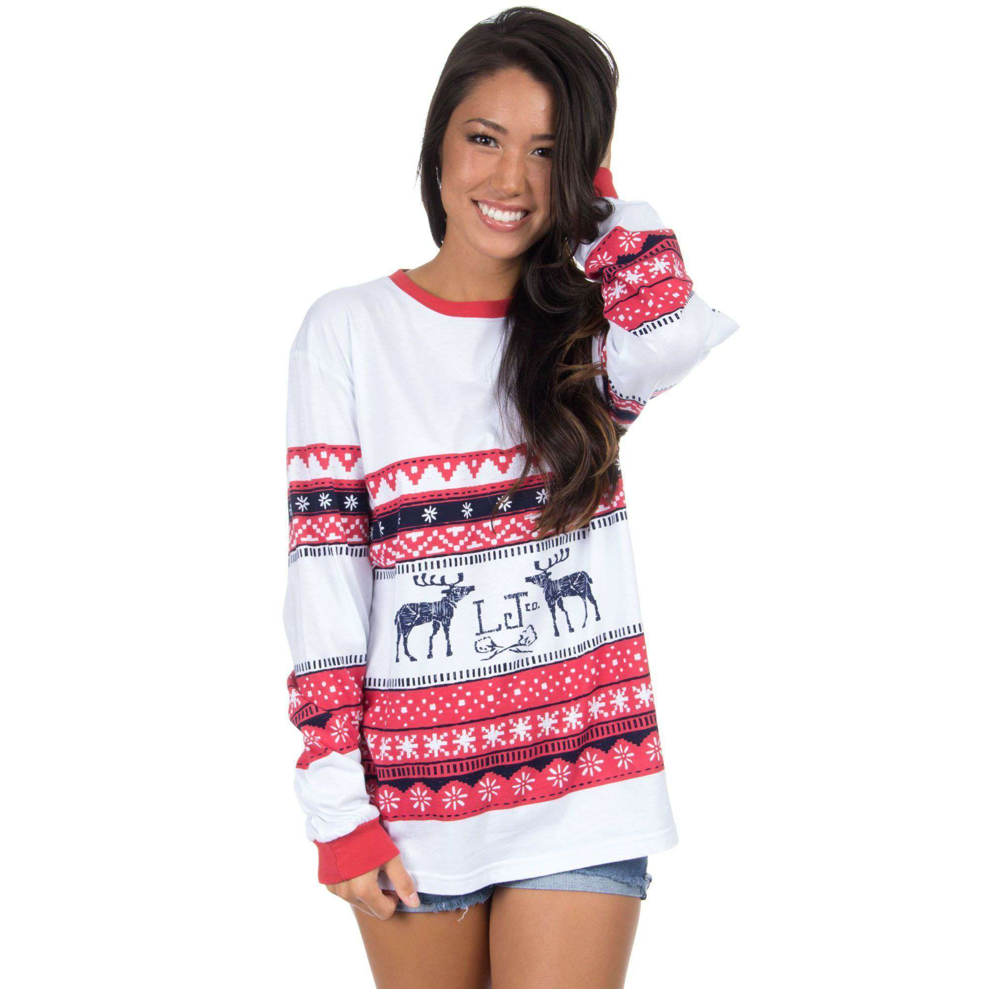 Christmas Sweater Long Sleeve Tee Shirt in Navy/Red by Lauren James - FINAL SALE