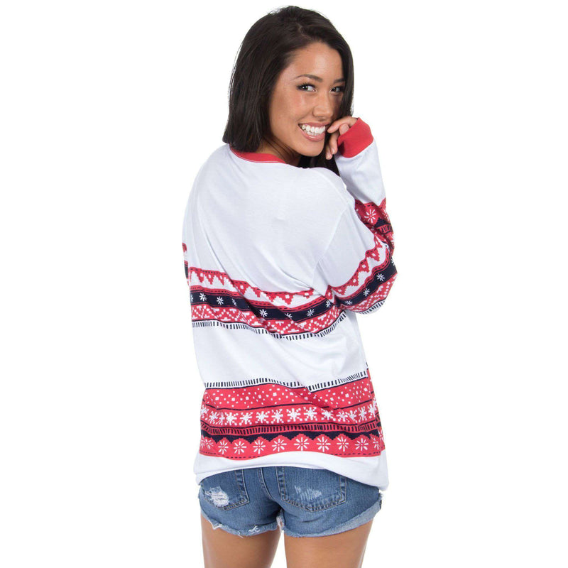 Christmas Sweater Long Sleeve Tee Shirt in Navy/Red by Lauren James