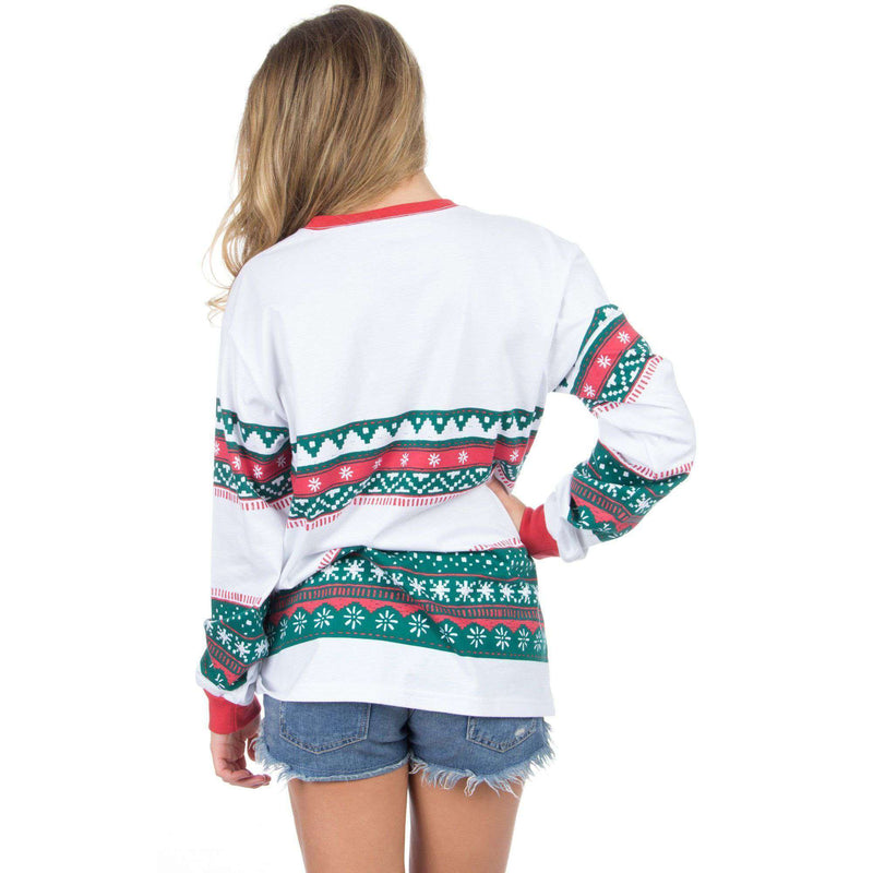 Christmas Sweater Long Sleeve Tee Shirt in Red/Green by Lauren James