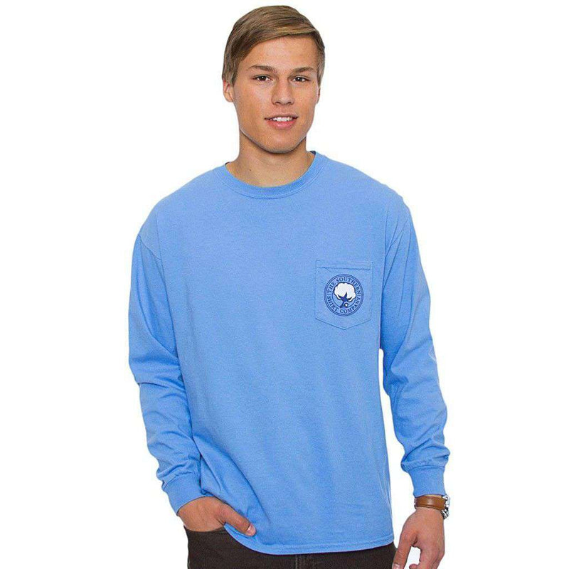 Women's Tee Shirts - Classic Tackle Long Sleeve Tee In Hampton Blue By The Southern Shirt Co.