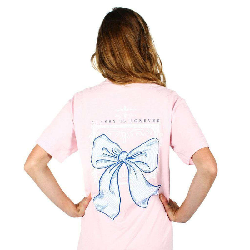 Women's Tee Shirts - Classy Is Forever Bow Pocket Tee In Blossom By Lily Grace