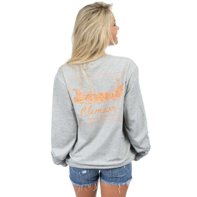 Women's Tee Shirts - Clemson University Long Sleeve Stadium Tee In Heather Grey By Lauren James