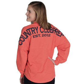 Women's Tee Shirts - Country Club Prep Jersey In Coral And Navy By Spirit Jersey - FINAL SALE