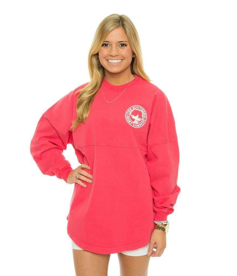 Women's Tee Shirts - Crewneck Jersey Pullover In Tropical Red By The Southern Shirt Co. - FINAL SALE