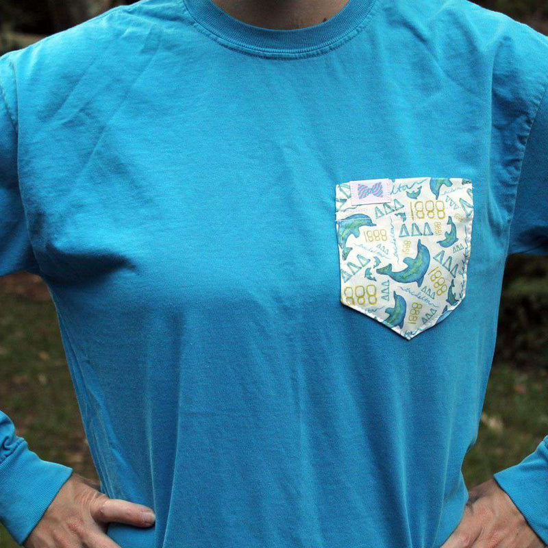Women's Tee Shirts - Delta Delta Delta Long Sleeve Tee Shirt In Caribbean Blue With Pattern Pocket By The Frat Collection