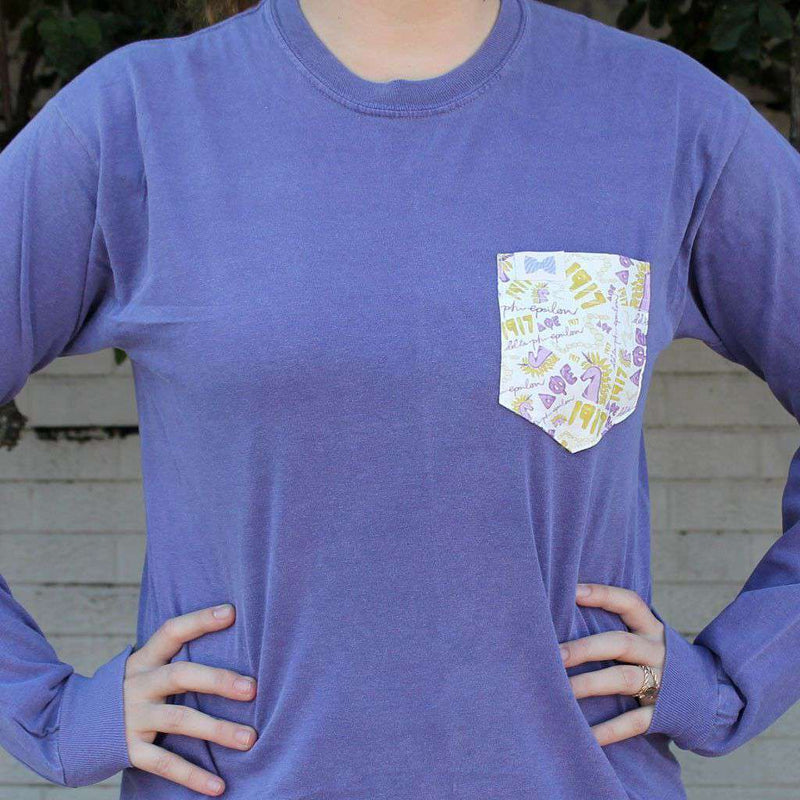 Women's Tee Shirts - Delta Phi Epsilon Long Sleeve Tee Shirt In Grape With Pattern Pocket By The Frat Collection