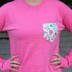 Women's Tee Shirts - Delta Zeta Long Sleeve Tee Shirt In Crunchberry With Pattern Pocket By The Frat Collection