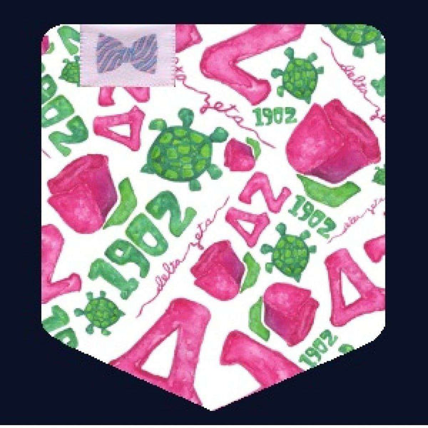Women's Tee Shirts - Delta Zeta Tank Top In Watermelon With Pattern Pocket By The Frat Collection - FINAL SALE