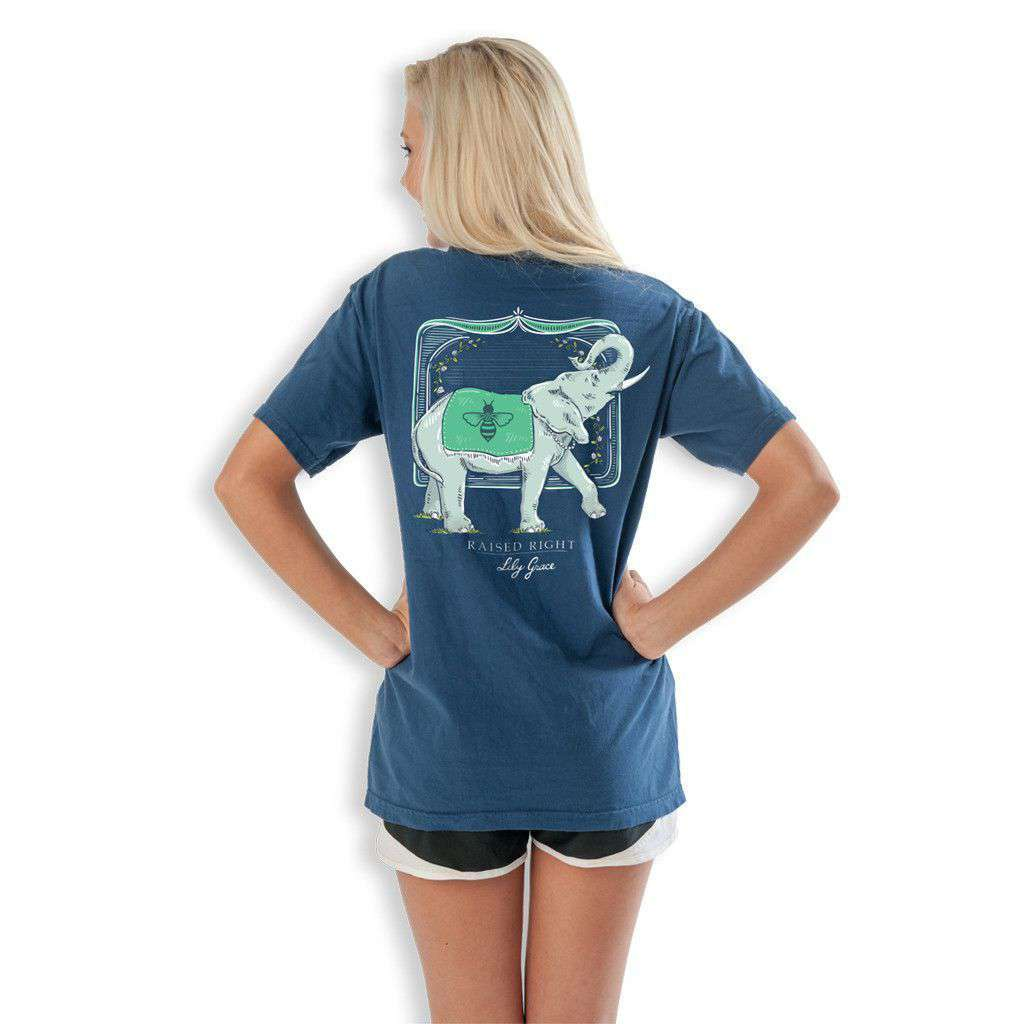 Women's Tee Shirts - Elephant Raised Right Tee In True Navy  By Lily Grace