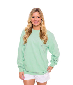 Women's Tee Shirts - Embroidered Long Sleeve Pocket Tee In Herbal Mist By The Southern Shirt Co.