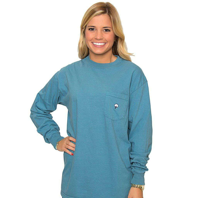 Women's Tee Shirts - Embroidered Long Sleeve Tee In Twilight Blue By The Southern Shirt Co.