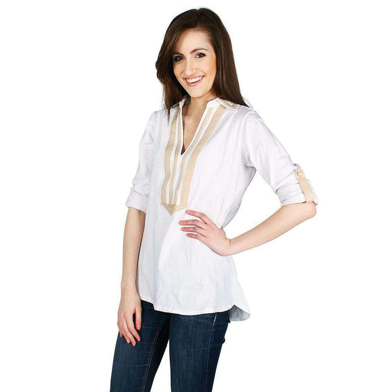 Women's Tee Shirts - Emma Top In White/Camel By Duffield Lane - FINAL SALE