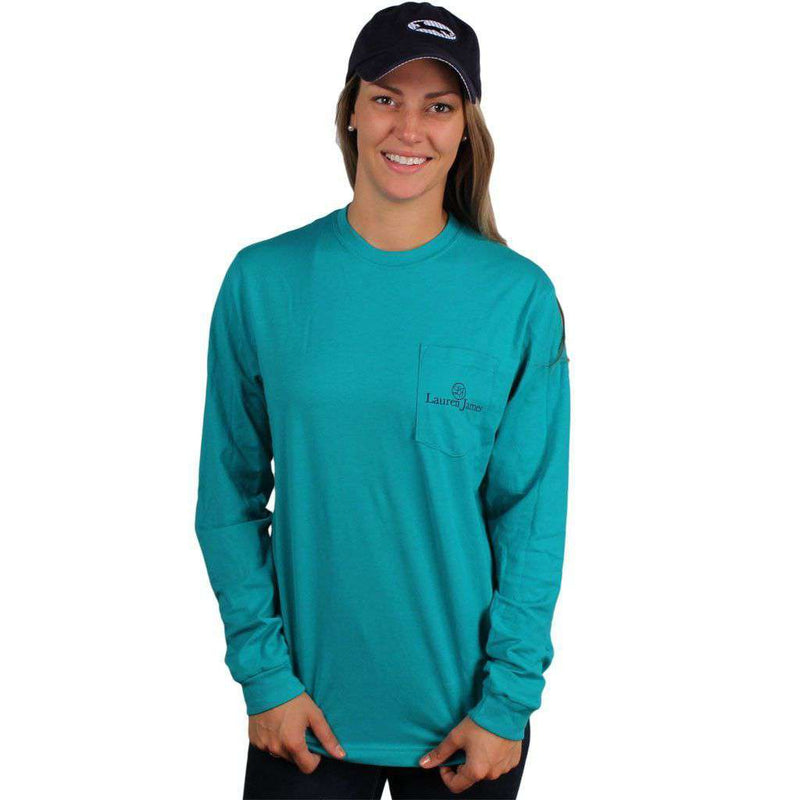 Women's Tee Shirts - Exclusive Preppin' Ain't Easy Long Sleeve Tee In Tropical Green By Lauren James & CCP - FINAL SALE