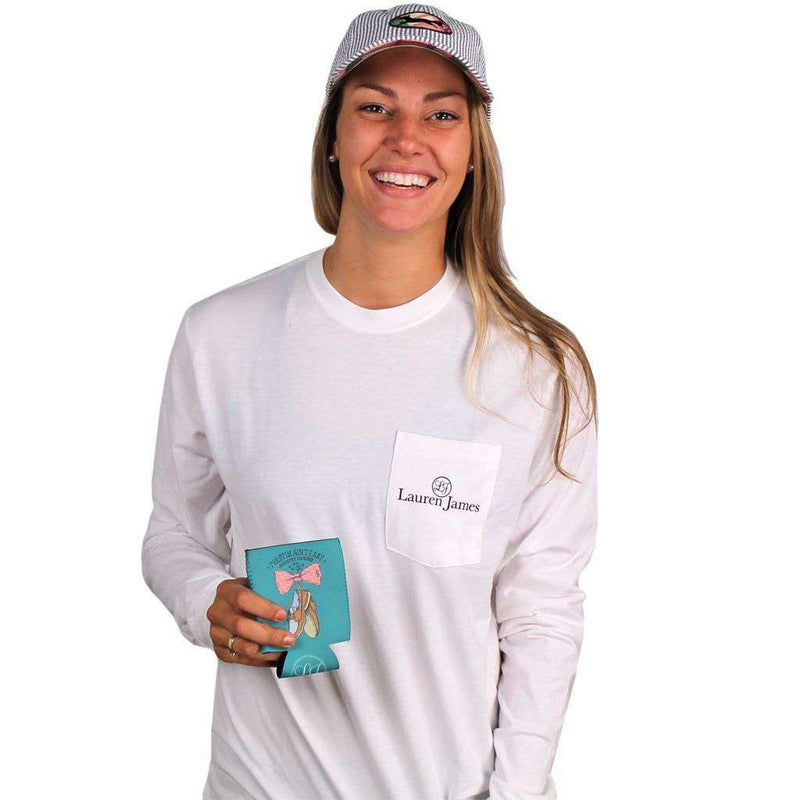Women's Tee Shirts - Exclusive Preppin' Ain't Easy Long Sleeve Tee In White By Lauren James & CCP - FINAL SALE