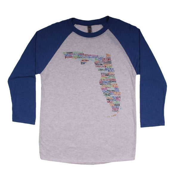 Women's Tee Shirts - Florida Cities And Towns Raglan Tee Shirt In Royal Blue By Southern Roots