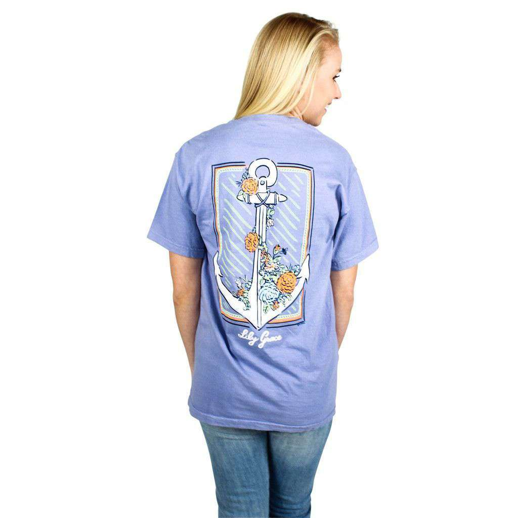 Women's Tee Shirts - Flower Anchor Pocket Tee In Washed Denim By Lily Grace