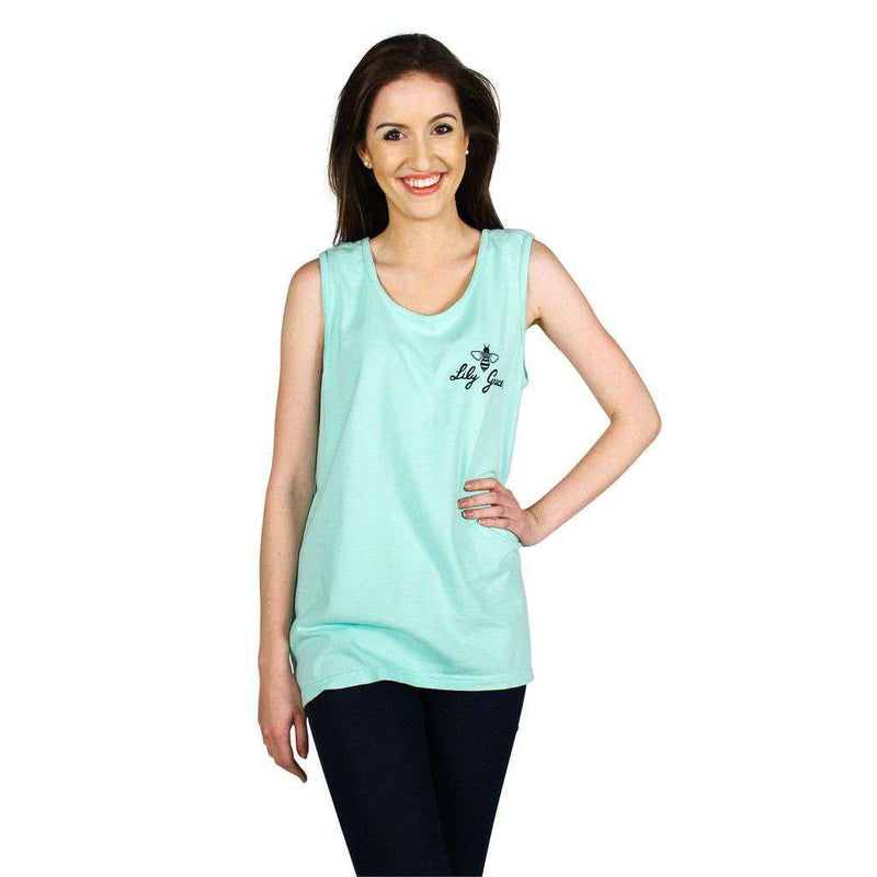Women's Tee Shirts - Flower Anchor Tank Top In Island Reef By Lily Grace