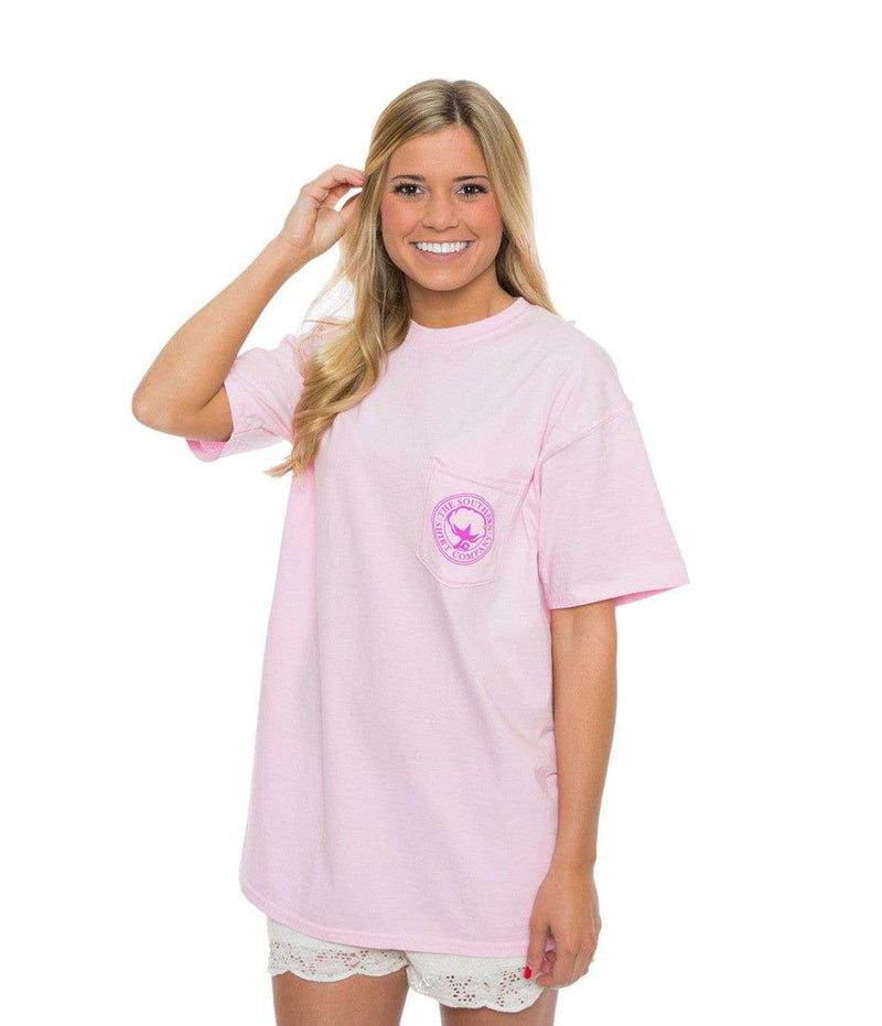Women's Tee Shirts - Flower Logo Short Sleeve Tee In Blossom Pink By The Southern Shirt Co.