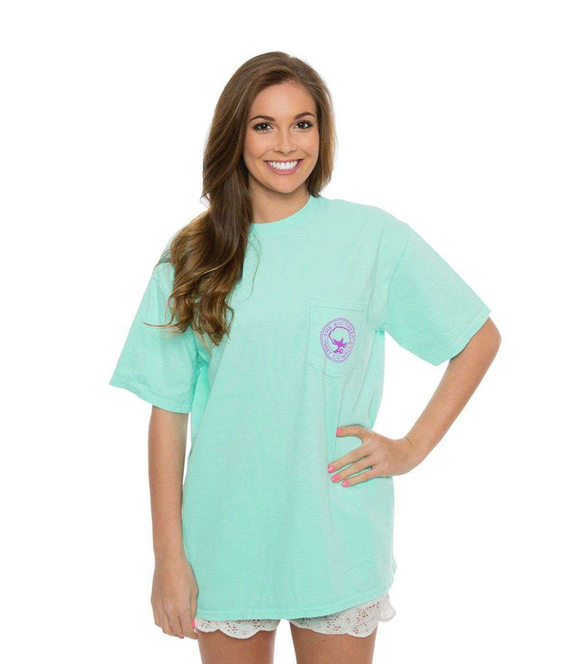 Women's Tee Shirts - Flower Logo Short Sleeve Tee In Ocean Blue By The Southern Shirt Co.