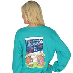 Women's Tee Shirts - Fourth And Goal Long Sleeve Tee In Tropical Green By Lauren James - FINAL SALE