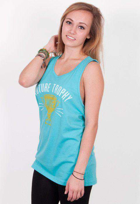Women's Tee Shirts - Future Trophy Wife Tank Top In Teal Blue By Rowdy Gentleman - FINAL SALE