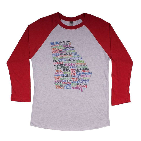 Women's Tee Shirts - Georgia Cities And Towns Raglan Tee Shirt In Red By Southern Roots