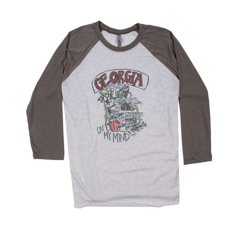 Women's Tee Shirts - Georgia Roadmap Raglan Tee Shirt By Southern Roots