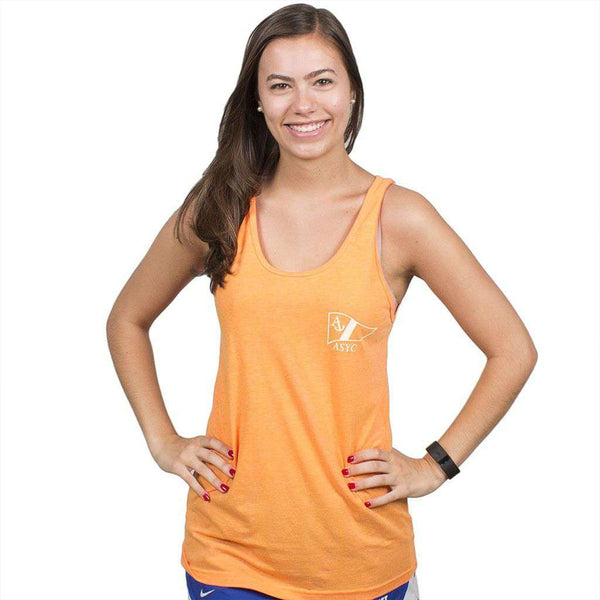 Women's Tee Shirts - Get Yachty Tank Top In Neon Heather Orange By Anchored Style - FINAL SALE
