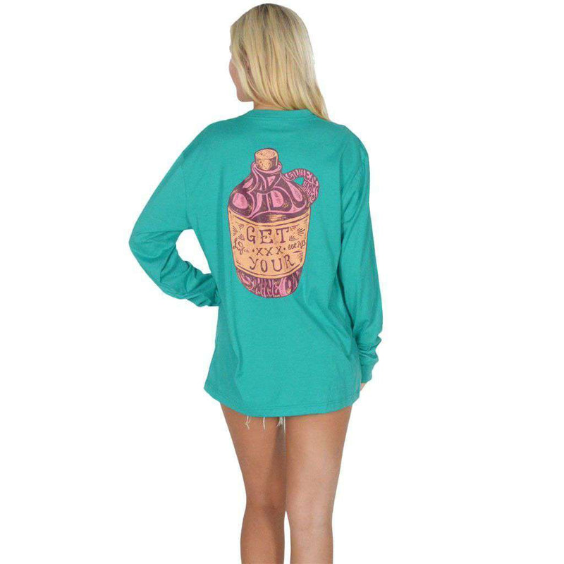 Women's Tee Shirts - Get Your Shine On Long Sleeve Tee In Tropical Green By Lauren James - FINAL SALE