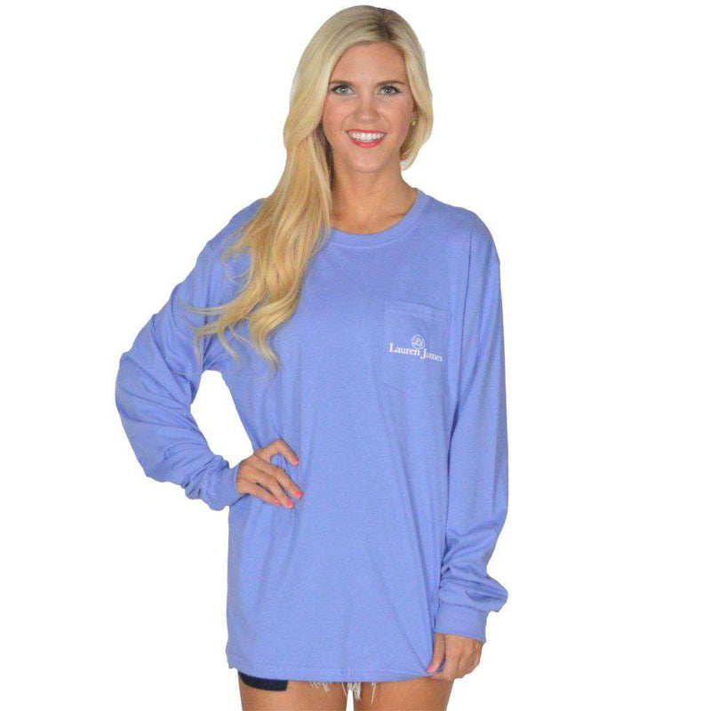 Gettin' Friski Long Sleeve Tee in Periwinkle Blue by Lauren James - FINAL SALE