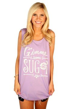 Women's Tee Shirts - Gimme Some Sugar Tank Top In Lavender By Lauren James - FINAL SALE