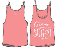 Women's Tee Shirts - Gimme Some Sugar Tank Top In Pink By Lauren James - FINAL SALE