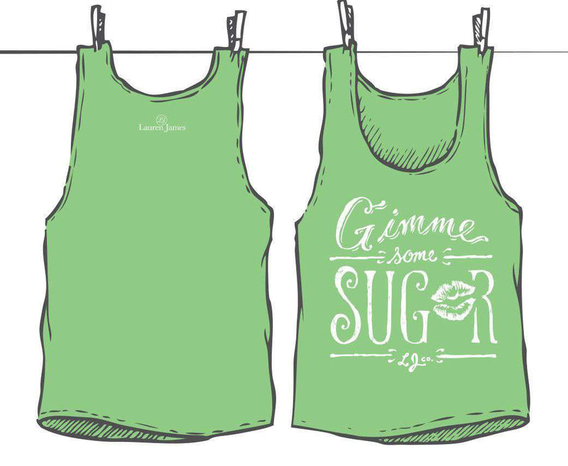 Women's Tee Shirts - Gimme Some Sugar Tank Top In Stem Green By Lauren James - FINAL SALE