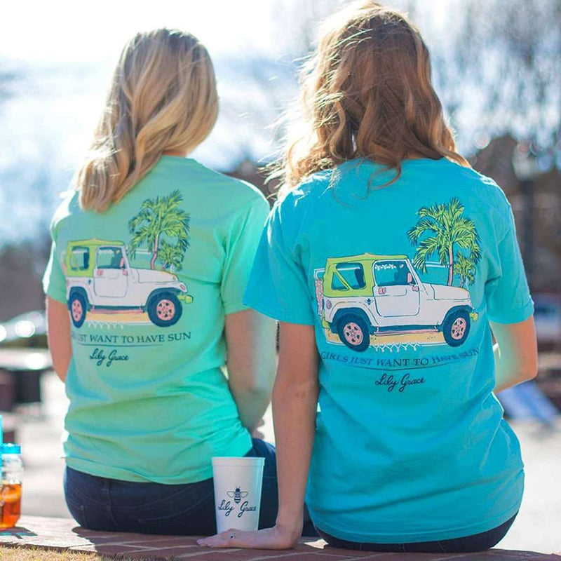 Women's Tee Shirts - Girls Just Want To Have Sun Tee In Lagoon By Lily Grace