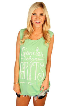 Women's Tee Shirts - Gooder Than Grits Tank Top In Stem Green By Lauren James - FINAL SALE