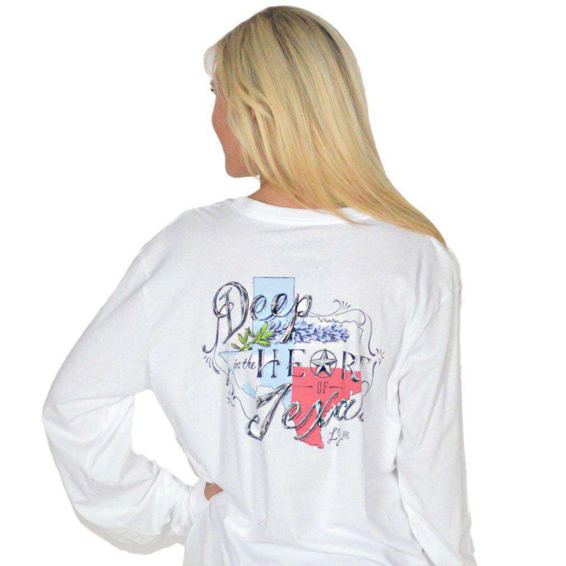 Women's Tee Shirts - Heart Of Texas Long Sleeve Tee In White By Lauren James - FINAL SALE