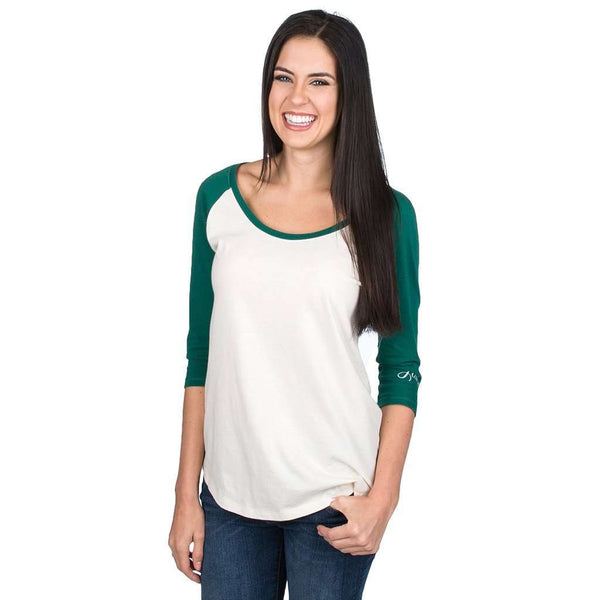 Women's Tee Shirts - Heathered Baseball 3/4 Tee In Evergreen By Lauren James - FINAL SALE