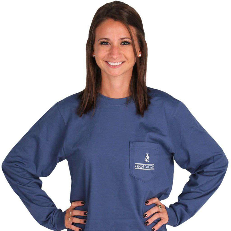Women's Tee Shirts - Heraldry Long Sleeve Pocket Tee In Navy By High Cotton