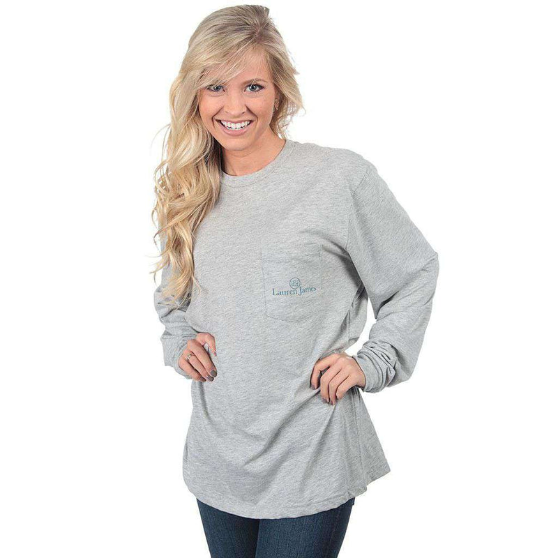 Holiday Pup Long Sleeve Tee in Heather Grey by Lauren James - FINAL SALE