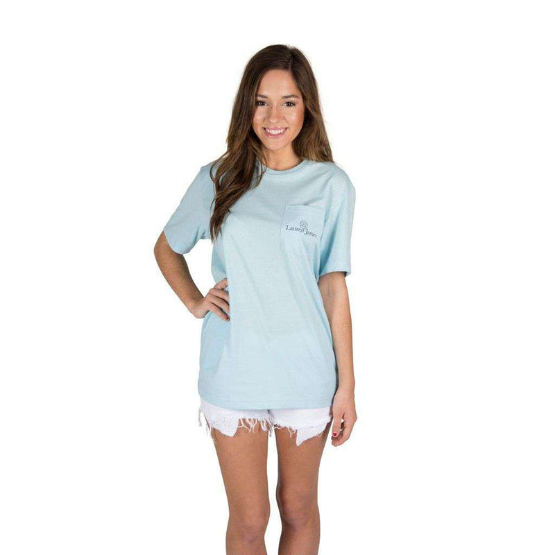 I'd Rather Be at the Beach Pocket Tee in Light Blue by Lauren James - FINAL SALE