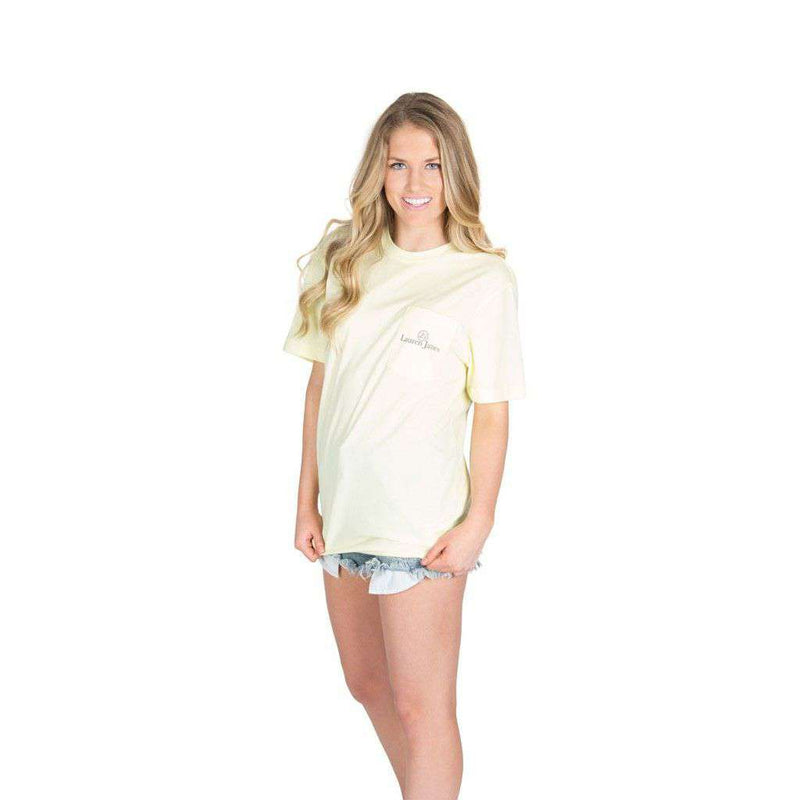 Women's Tee Shirts - I'd Rather Be At The Beach Pocket Tee In Yellow By Lauren James - FINAL SALE